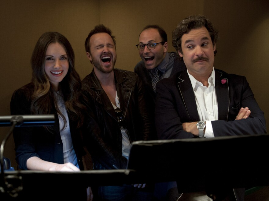 <em>BoJack Horseman</em> creator Raphael Bob-Waksberg (third from left) with actors Alison Brie, Aaron Paul and Paul F. Tompkins.
