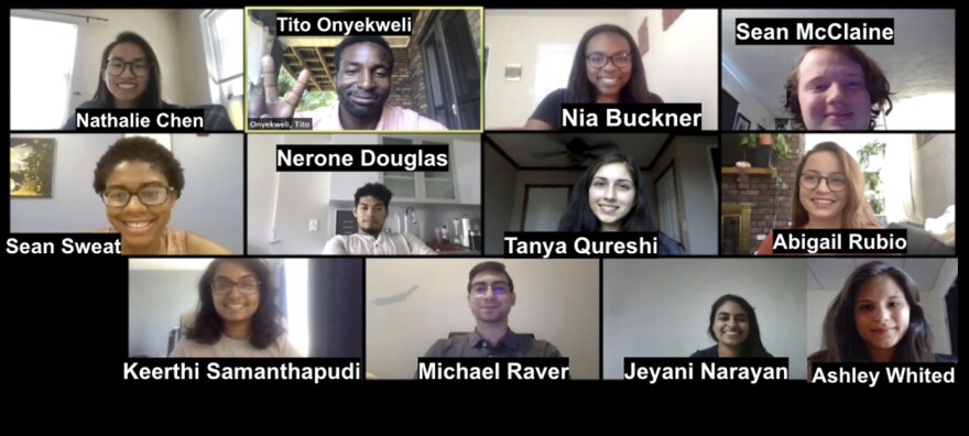 First-year medical students at the University of Pittsburgh School of Medicine work together on Zoom to craft a new version of the Hippocratic oath.