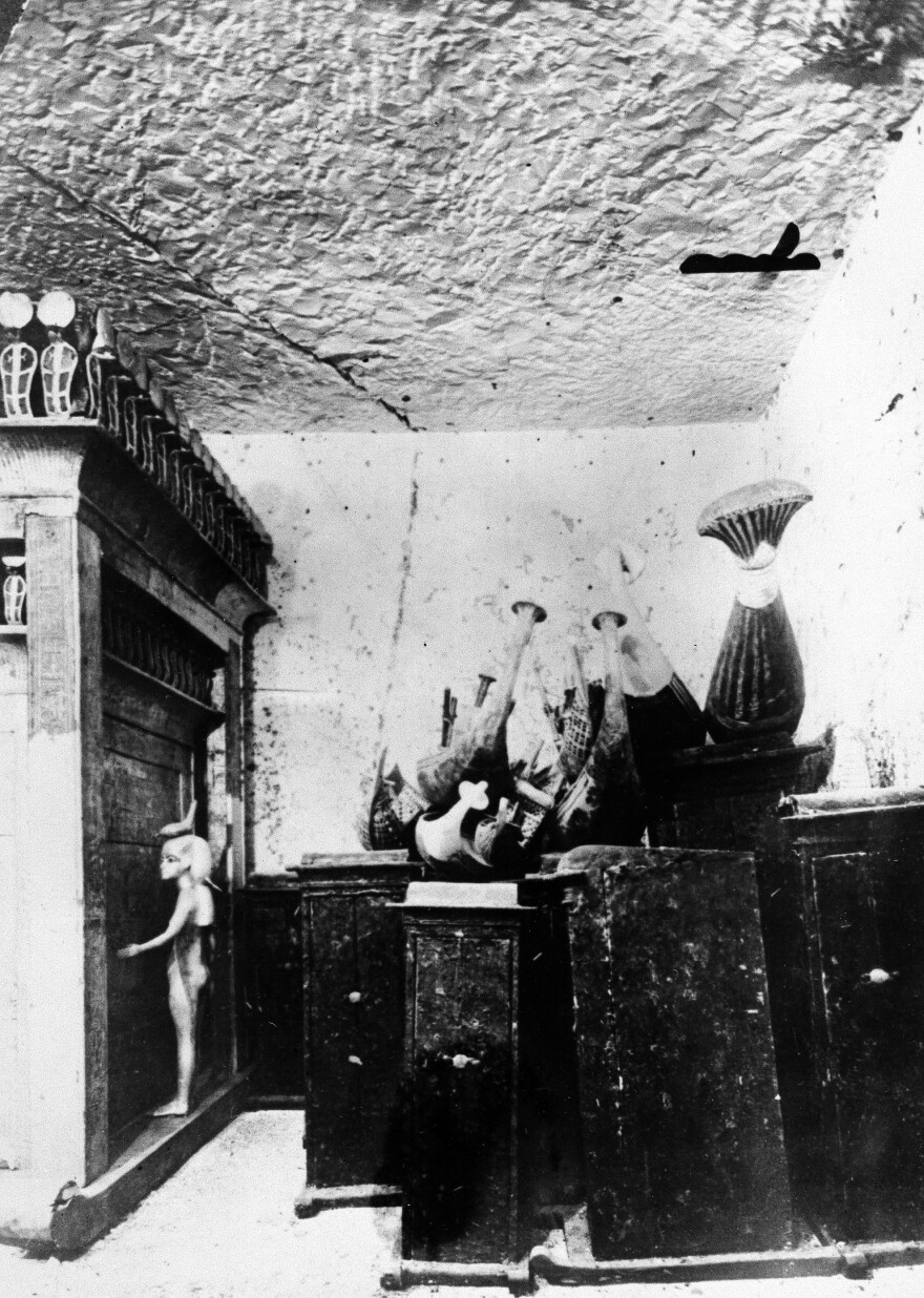 Some of the treasures inside the tomb of King Tut in Luxor, Egypt, in 1923.