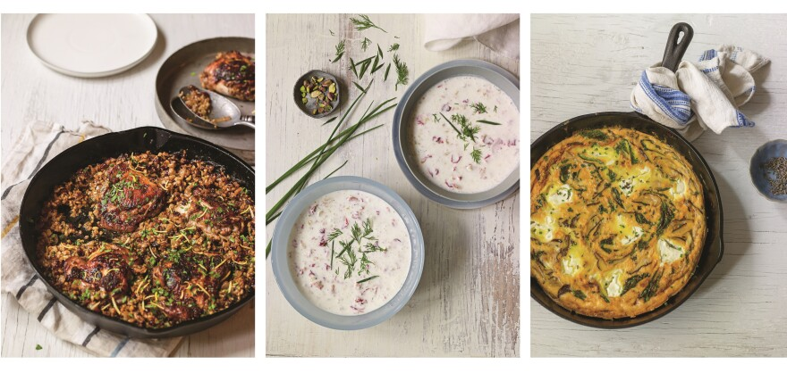 <strong>Beyond the fruit-sweetened stuff:</strong> Around the world, cooks turn to yogurt for a huge variety of culinary delights. From left: cast-iron chicken marinated in a yogurt-spice blend and topped with the Middle Eastern grain freekeh; a Persian cold yogurt soup; shitake frittata with labneh, kale and shallots. From <em>Yogurt Culture</em> by Cheryl Sternman Rule.