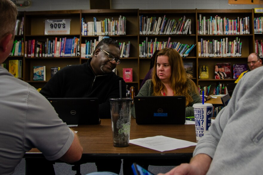 Teachers at Cross Keys Middle School in the Ferguson-Florissant School District try to navigate Google Classroom as schools across the region prepare to move online for several weeks. March 16, 2020.