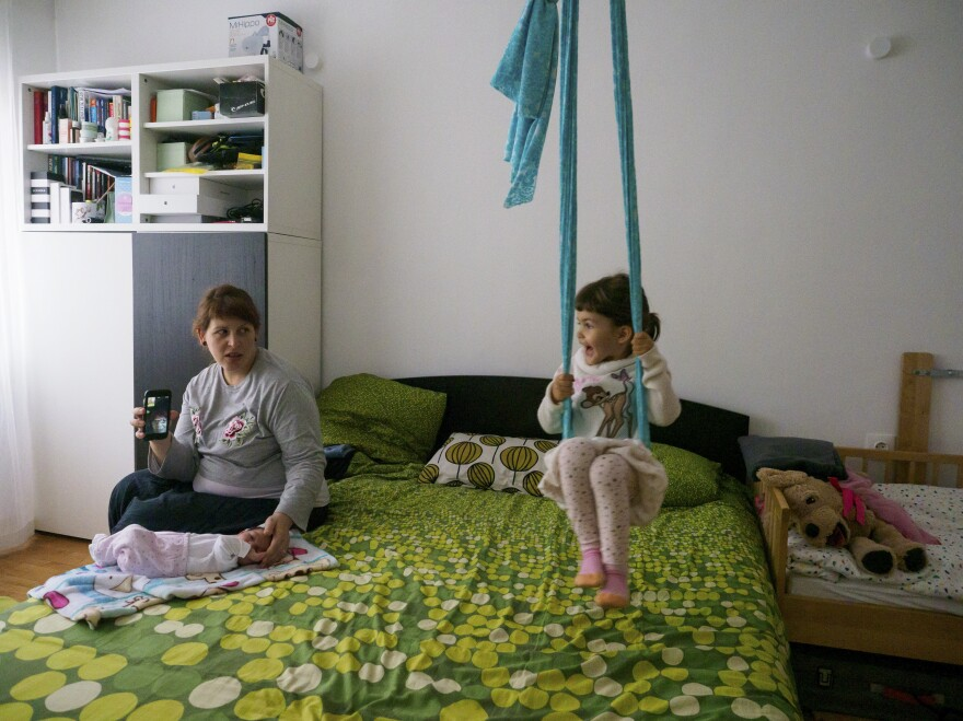 """The online video connection was the only way for Anastas Tarpanov's parents to see their granddaughters for a long period. He reflects: """"The pandemic experience has showed us that we can live with fewer resources, and the most important thing is the people who are close to us. I hope my daughter carries these values."""" <em>April 1. Sofia, Bulgaria.</em>"""