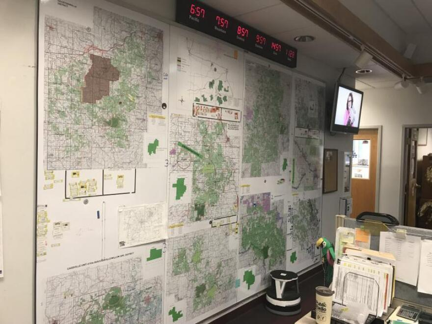 The main office at Mark Twain National Forest includes maps at the fire suppression center.