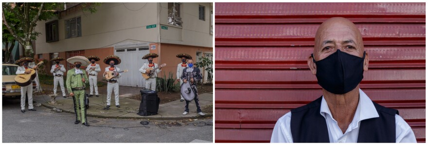 Left: Since lockdown, the band has been going out to busk in different neighborhoods. Right: Antonio Cartagena, an accordion player in a mariachi group meets his bandmates on the street in Medelli­n, Colombia.