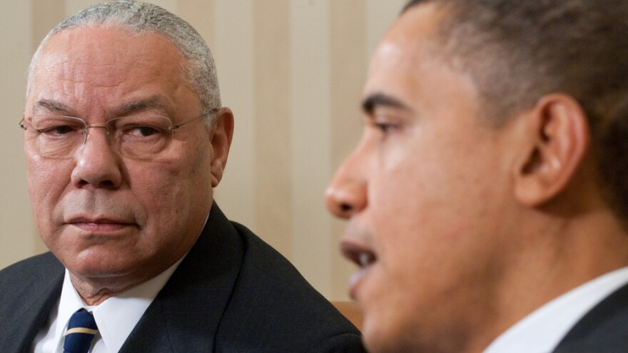 President Obama and former Secretary of State Colin Powell at the White House on Dec. 1, 2010.