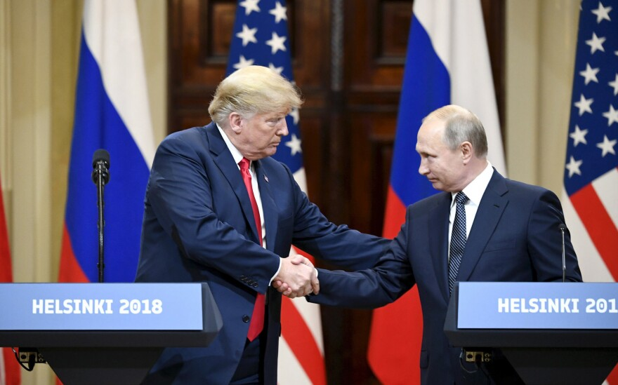 President Trump drew widespread criticism for his remarks at a joint press conference in Helsinki with Russian President Vladimir Putin.