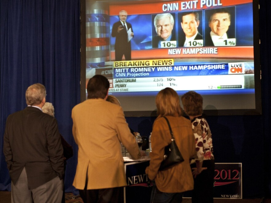Supporters watch primary results in Manchester, N.H., in January. According to a Pew study, Americans continue to get much of their election news from cable television.