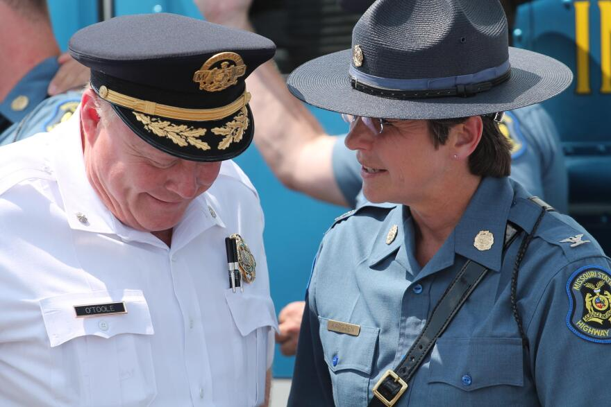 St. Louis Interim Police Chief Larry O'Toole, left, is under fire for the way the department has handled the protests that followed a judge's decision to acquit former officer Jason Stockley of murder.