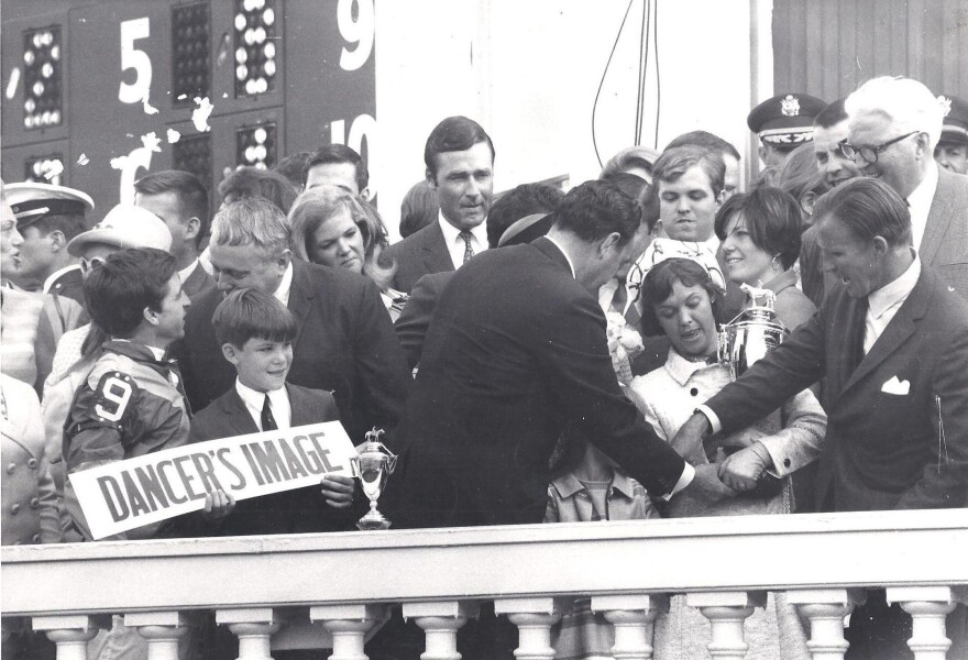 Stephen Johnstone and his friend, Sharron Reynolds, snuck  into Derby celebrations in 1968. Reynolds is just behind the woman with the trophy; Johnstone is to Reynolds' right.