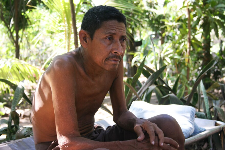 Former sugar cane cutter Manuel Antonio Tejarino was photographed in March 2014. He died of kidney disease two months later.