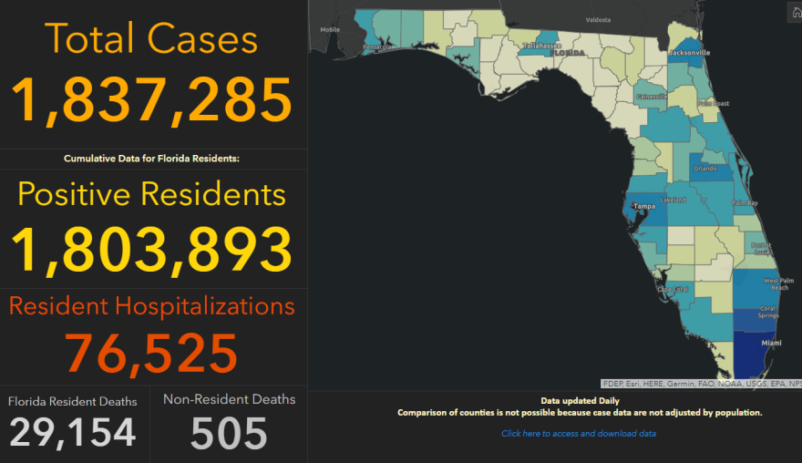 Florida's coronavirus dashboard on 2-16-20