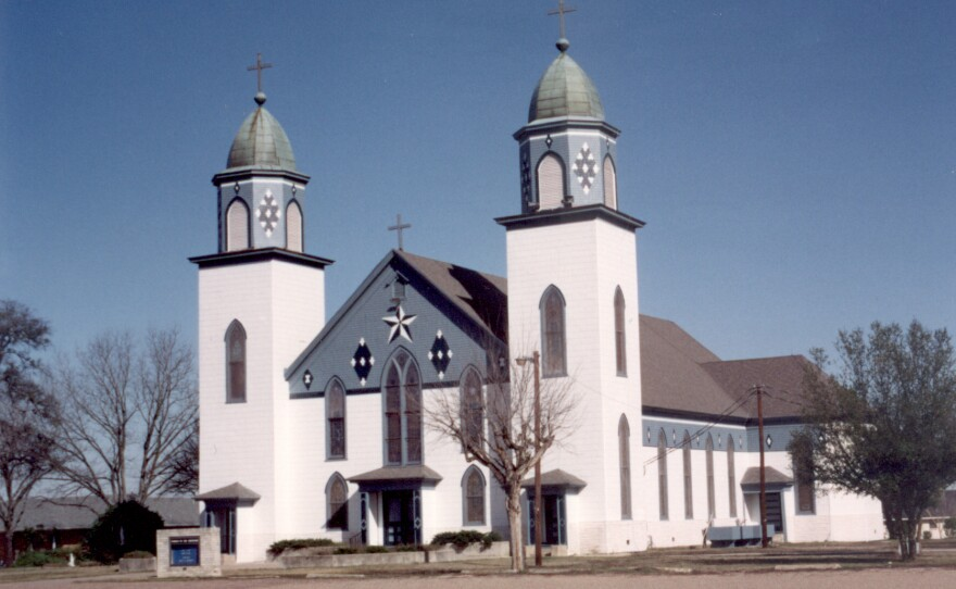 The Church of the Visitation before fire destroyed it on Monday.