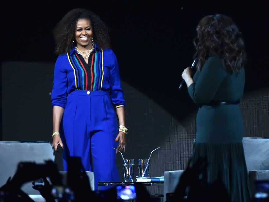 Former first lady Michelle Obama with Oprah Winfrey (who placed fourth) in February. This marks the third consecutive year that Obama was the most admired woman in America, according to Gallup.