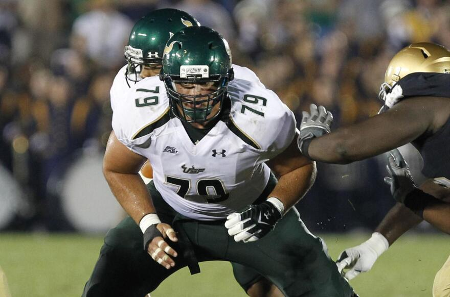USF football center Chaz Hine