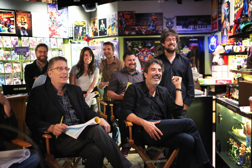 Bill Prady, front left, and Chuck Lorre, front right, are the co-creators of <em>The Big Bang Theory.</em>