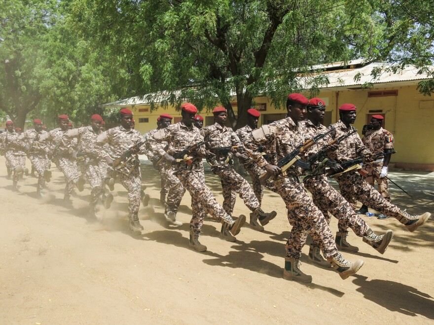 Chadian red berets on parade at the closing ceremony in Ndjamena, Chad of Flintlock 2017, US military-led counterterrorism exercises involving forces from 27 countries.