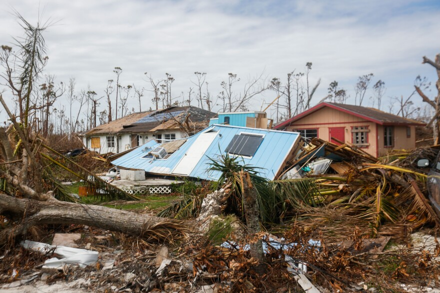 Buildings in Marsh Harbor on the island of Abaco in the Bahamas are devastated by the effects of Hurricane Dorian. Many Bahamian schools remain closed weeks after the storm due to a lack of clean water.