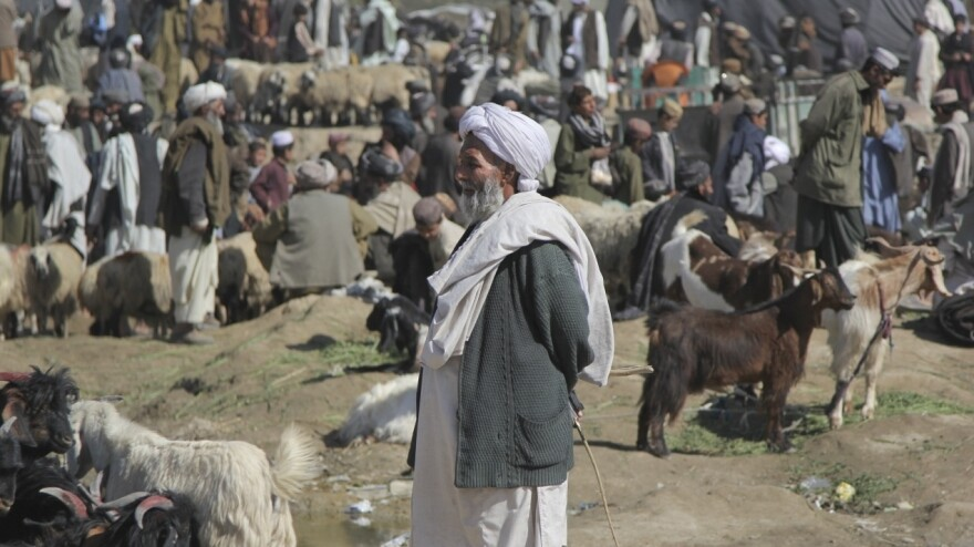 Men gather at the bazaar in Lashkar Gah, the capital of the southern province in Helmand Province. The volatile province accounts for about half of the opium production in Afghanistan.