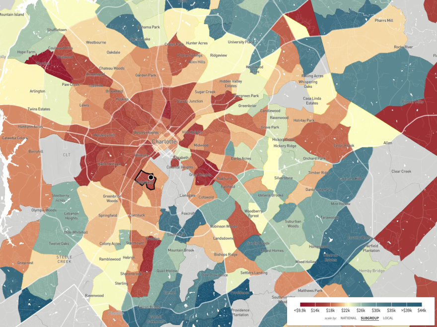 "This map, a screenshot from <a href=""http://www.opportunityatlas.org/"">The Opportunity Atlas</a>, shows household income in 2014-2015 for African-Americans born between 1978 and 1983 to low-income parents. Sedgefield Middle School is in a part of Charlotte where blacks who grew up in low-income households tended to stay low-income."