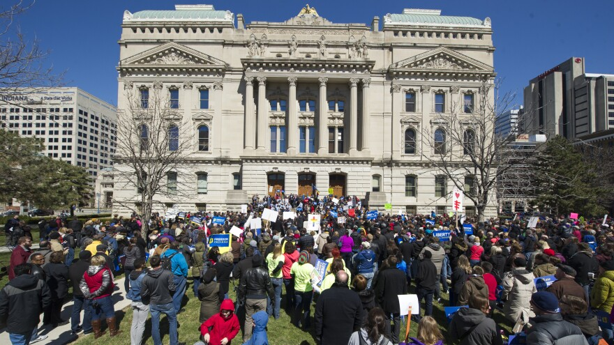 Opponents of Indiana's Religious Freedom Restoration Act rallied against the legislation at the Indiana State House on Saturday.