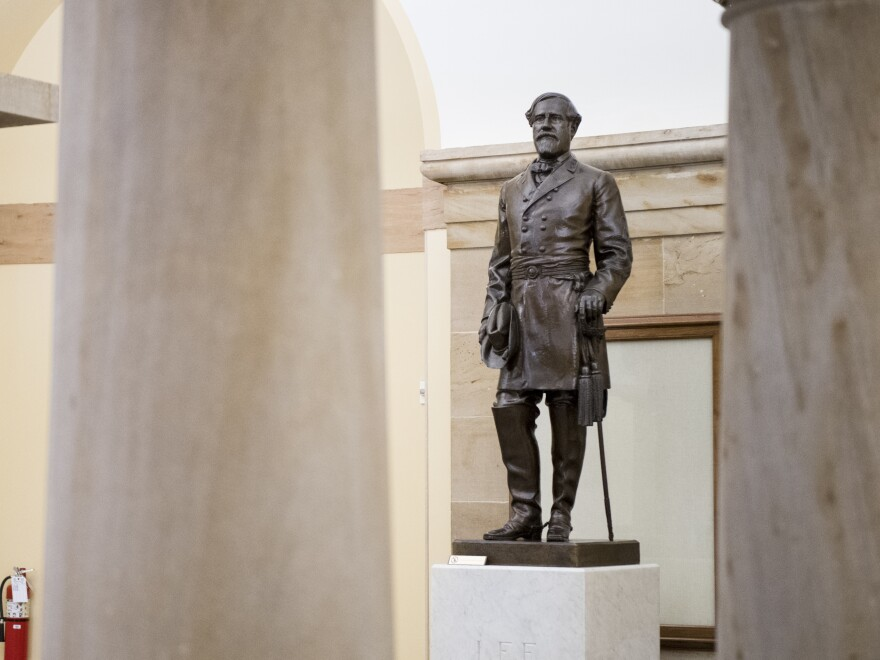A statue of Robert E. Lee stands in the U.S. Capitol, seen in 2019.
