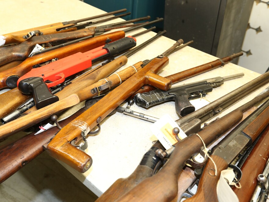Weapons that were handed in are seen at the Victoria Police Forensic Services Centre on August 11, 2017 in Melbourne, Australia.