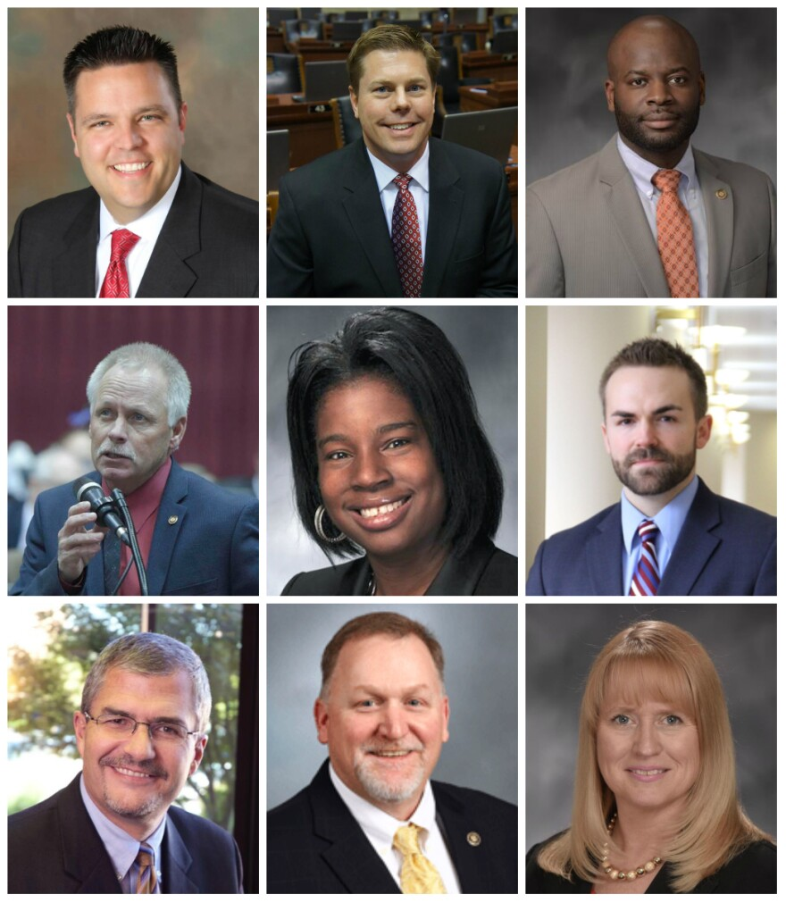 These nine legislators scored an A and are listed from left to right from the top: Rep. Justin Hill, Rep. Dean Plocher, Rep. Clem Smith, Rep. Randy Pietzman, Rep. Karla May, Rep. Nick Schoer, Rep. Kirk Mathews, Sen. Dave Schatz, Rep. Chrissy Sommer.