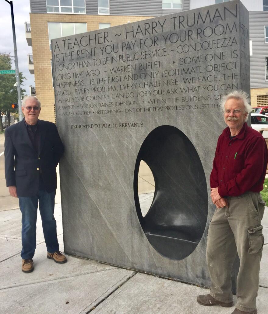 Former Dayton City Manager, Tim Riordan (left) and Artist Jon Barlow Hudson