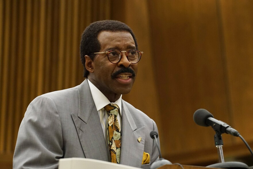 """Courtney B. Vance — pictured above in his role as Johnnie Cochran in <em>The People v. O.J. Simpson —</em> says the miniseries<em> </em>is a """"perfect opportunity for us to begin the process"""" of talking about the nation's deep racial divide. """"It's not going to happen overnight,"""" he says. """"It's got to be talked through."""""""