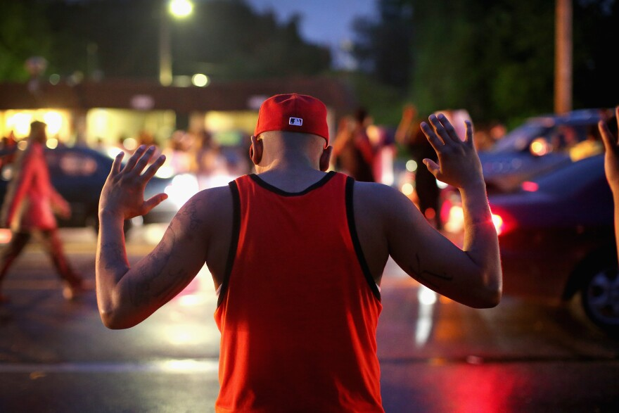 Demonstrators gather along West Florissant Avenue to protest the shooting of Michael Brown on Aug. 15, 2014 in Ferguson, Missouri. (Scott Olson/Getty Images)
