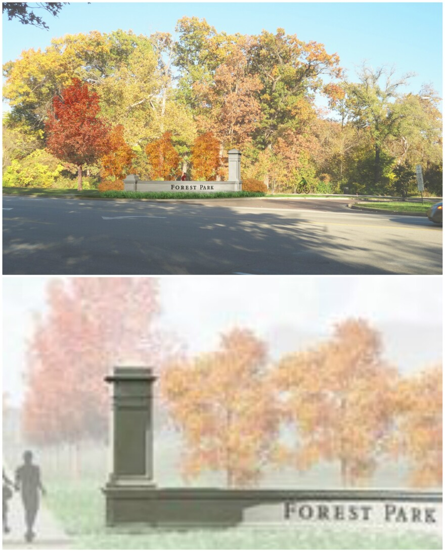 The Forest Park entrance markers will be slightly different depending on the location.