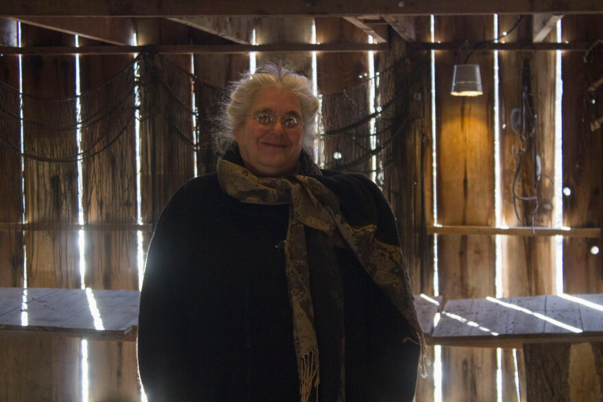 Elizabeth Garst, pictured at Whiterock Conservancy in a barn converted to a dance hall in the 1920s, is convinced that modern, conventional agriculture can become sustainable, but farmers gain will have to embrace.