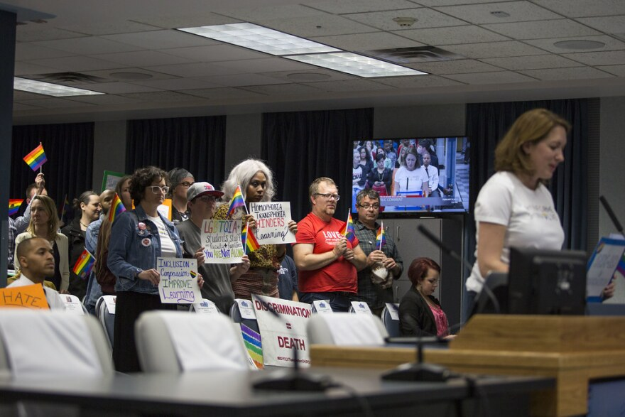 Susanne Kerns of Informed Parents of Austin speaks during public comment at an Austin ISD school board meeting in February.