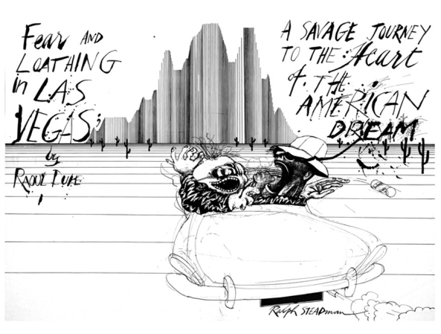 Steadman's trademark style became inseparable from Thompson's writing, particularly the book <em>Fear and Loathing in Las Vegas</em>.