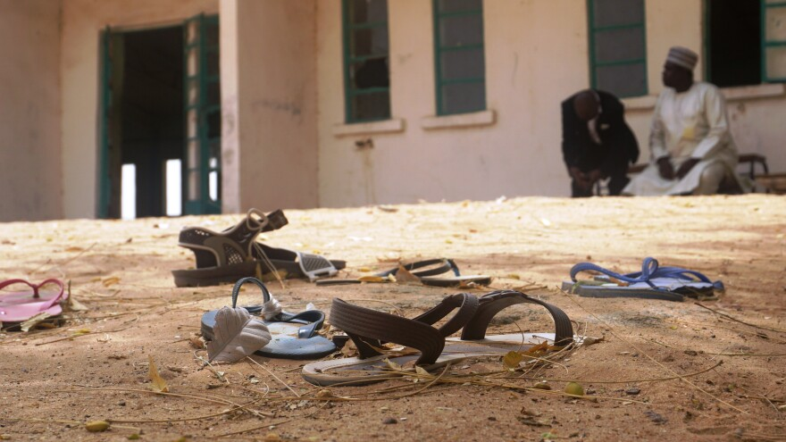 Sandals abandoned in the yard of the Government Girls Science and Technical College staff quarters in Dapchi.