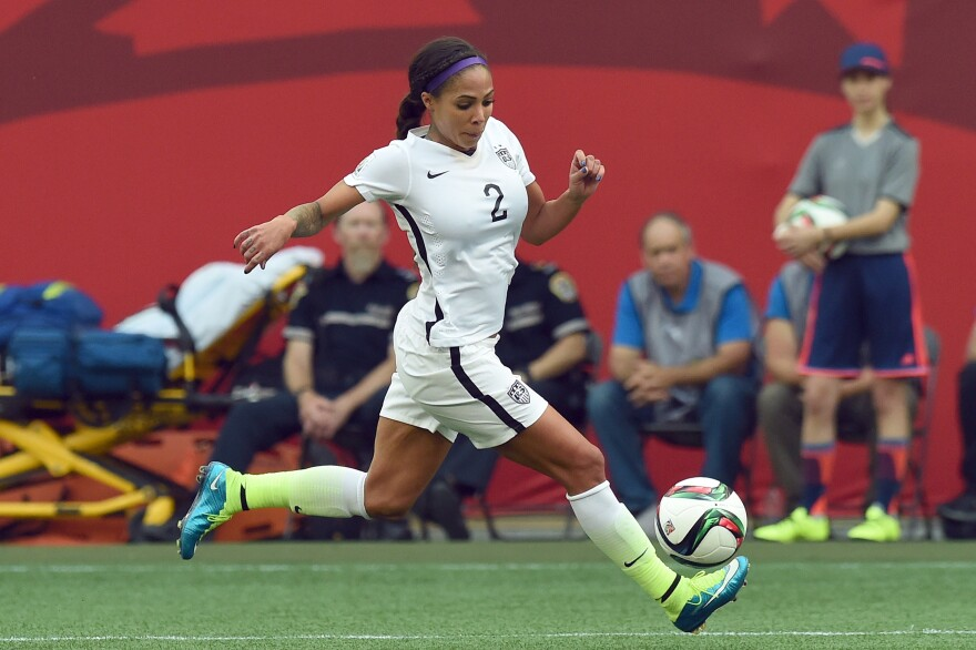 U.S. forward Sydney Leroux controls the ball during a Group D match with Australia on Monday during the 2015 FIFA Women's World Cup in Canada. The U.S. won, 3-1.