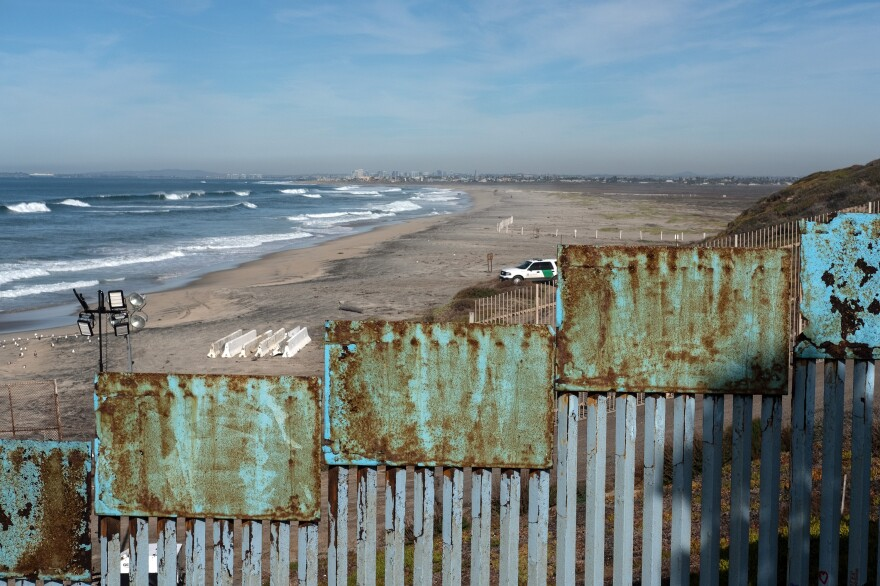 Border Patrol guards a section of the U.S.-Mexico border fence as seen from Playas de Tijuana, Mexico.