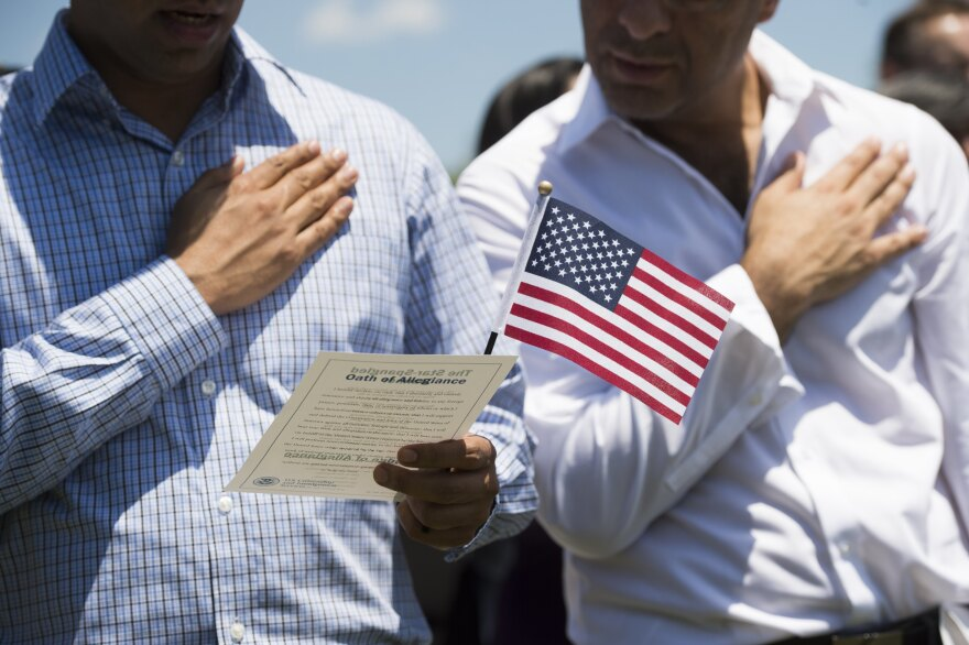 Never before has the U.S. census directly asked for the citizenship status of every person living in every household in the United States. A citizenship question that the Trump administration wants on the 2020 census could change that. Above, newly sworn-in U.S. citizens recite the Pledge of Allegiance during a naturalization ceremony at Mount Vernon in Virginia.