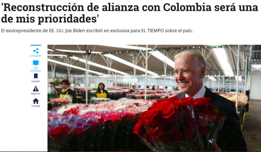 Headline and photo of Joe Biden's op-ed in the online edition of the Colombian daily El Tiempo this week.