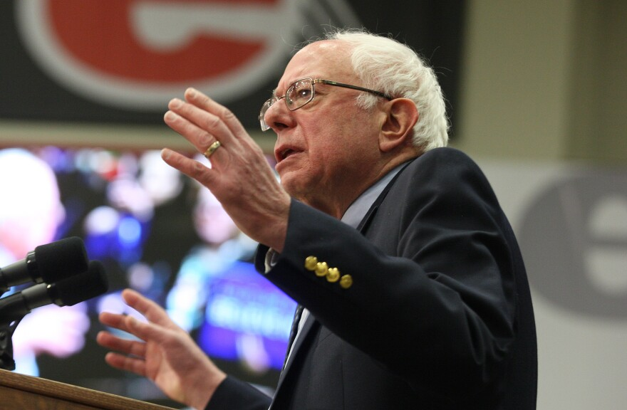 Democratic presidential candidate Sen. Bernie Sanders addresses nearly 5,000 people on the campus of Southern Illinois University-Edwardsville on March 4, 2016.