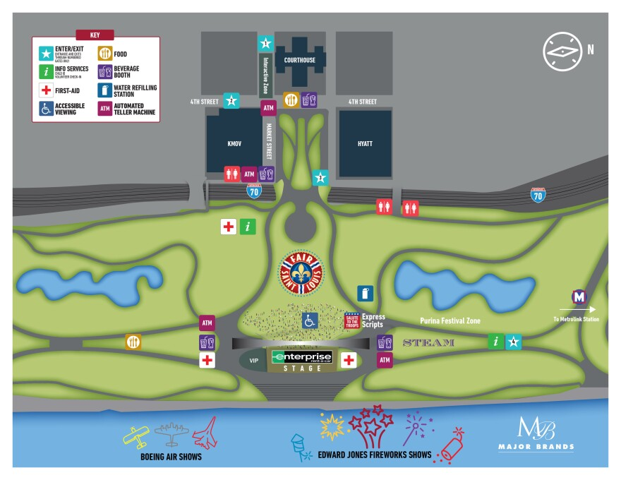 A map of this year's Fair St. Louis provided by the organizers. High water levels have pushed some parts of the fair to other parts of the Arch grounds. July 2 2019