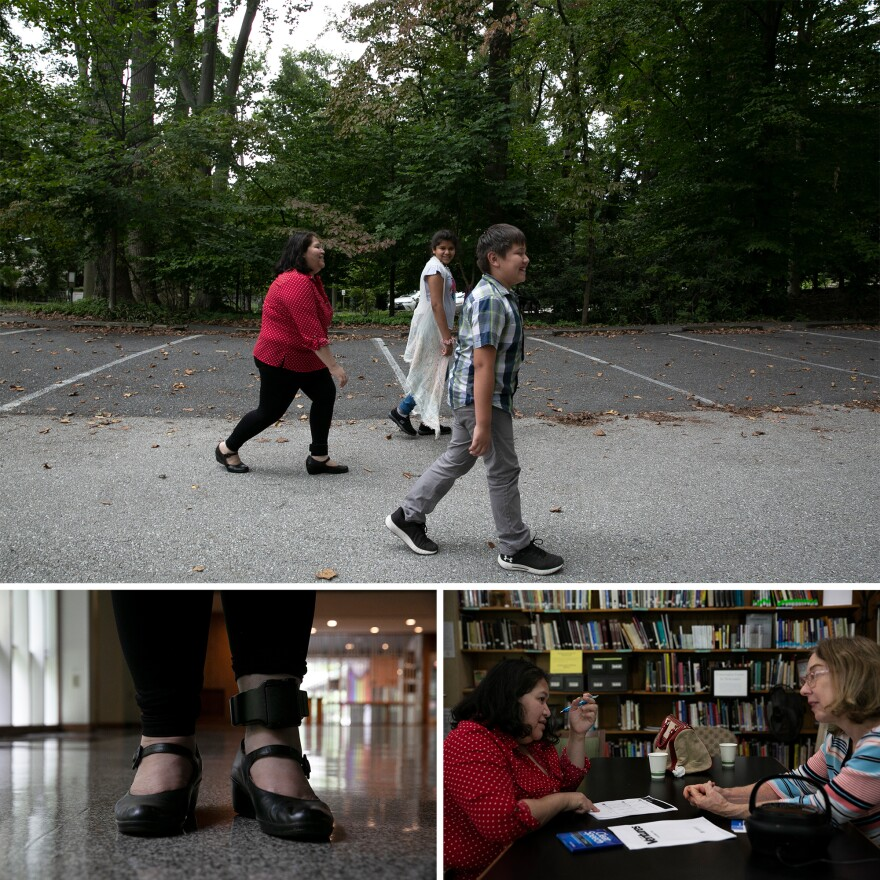 Top: Rosa goes for a walk with her children. Bottom left: U.S. Immigration and Customs Enforcement put a monitor on Rosa's ankle to keep her locations. She has been wearing the monitor for more than two years. Bottom right: Rosa has English classes with sanctuary volunteer, Gail, three times a week and planning to take it every day.