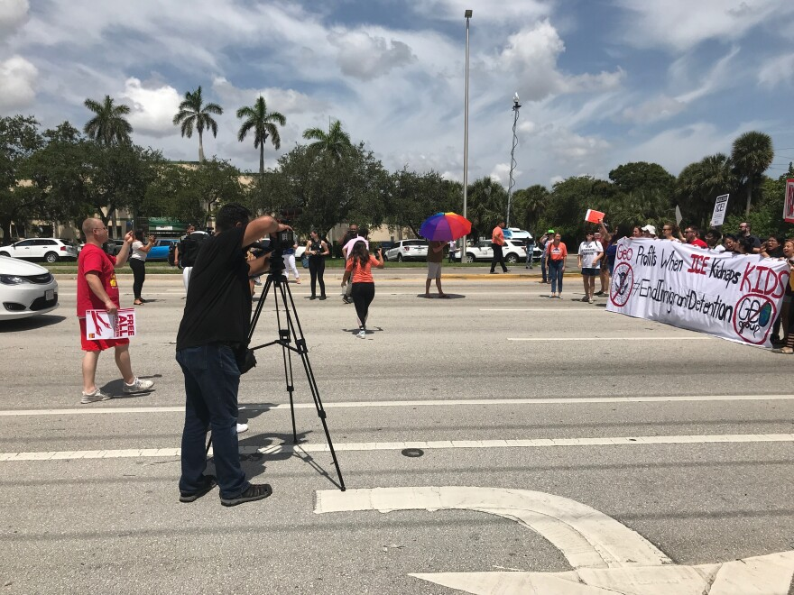 The Broward County Sherriff's Office threatened to arrest some of the protestors after they blocked traffic for several minutes.