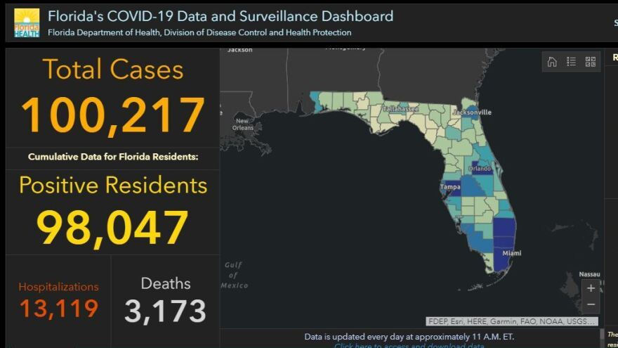 Florida's COVID-19 dashboard, here in a snapshot Monday, shows the state has more than 100,000 confirmed coronavirus cases.