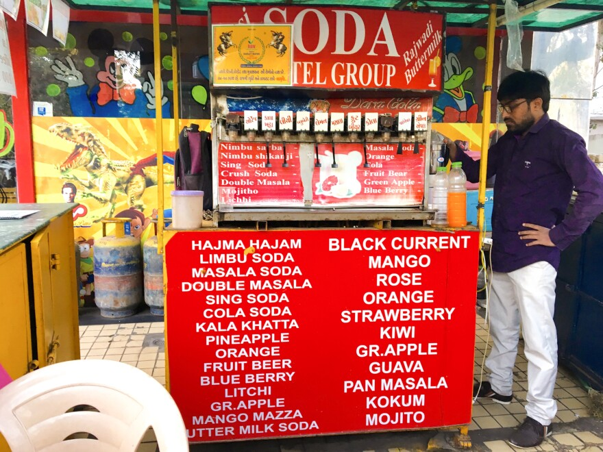 A typical masala soda shop in Mumbai. Flavors sold here range from traditional Indian ones with mango, pineapple and lemon, to more westernized flavors, like strawberry, kiwi and mojito.