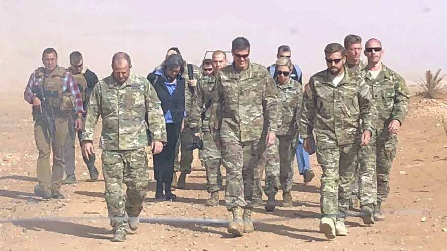 U.S. Gen. Joseph Votel (center), the top U.S. commander for the Middle East, visited a military outpost at al-Tanf in southern Syria, where the U.S. trains Syrian opposition forces, in October. President Trump is planning to withdraw the U.S. forces from Syria, according to a Pentagon official.