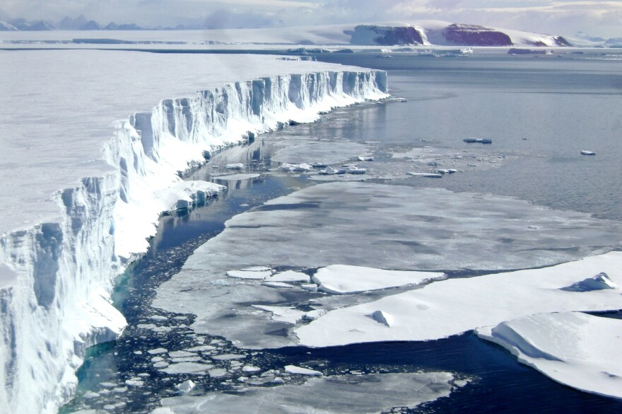 A 2008 view of the leading edge of the Larsen B ice shelf, extending into the northwest part of the Weddell Sea. Huge, floating ice shelves that line the Antarctic coast help hold back sheets of ice that cover land.