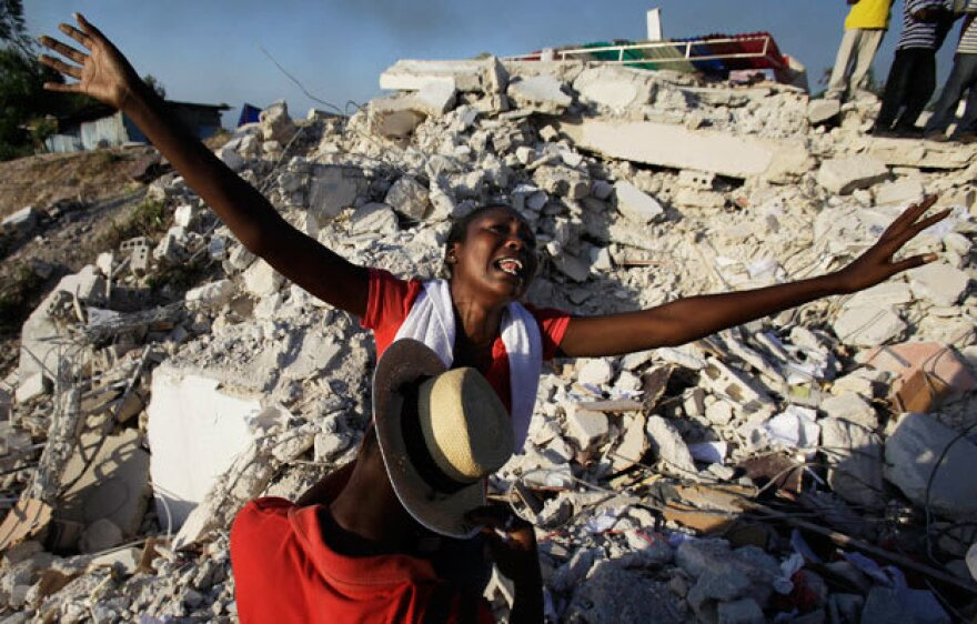 Port-au-Prince resident Maxi Phalone after her sister was rescued from the rubble of the Haiti earthquake in January 2010.