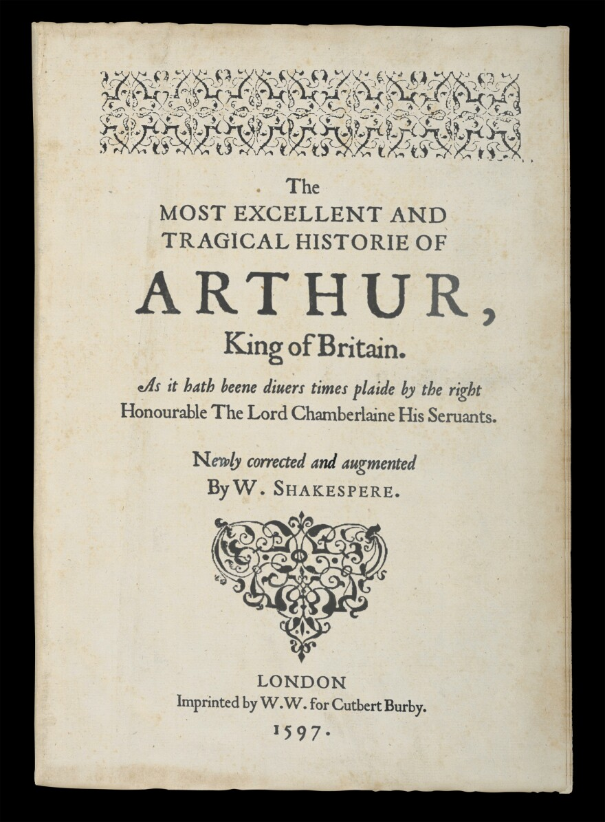The first page of the folio discovered in <em>The Tragedy of Arthur</em>, a new book by Arthur Phillips.