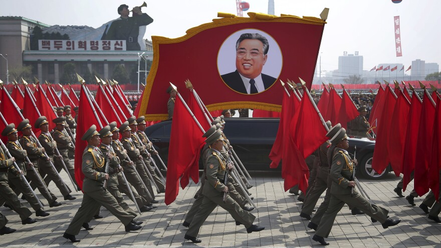 Founder Kim Il Sung's birthday is usually commemorated by displays of military fanfare and the nation's ordnance.